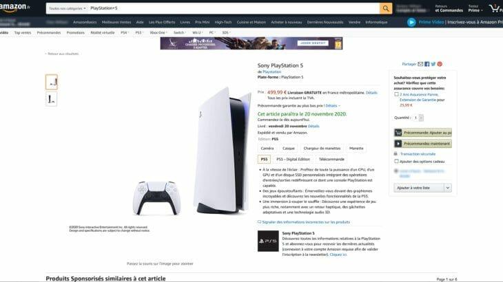 PS5の価格は499ドルか。Amazonフランスのプレオーダーページより判明